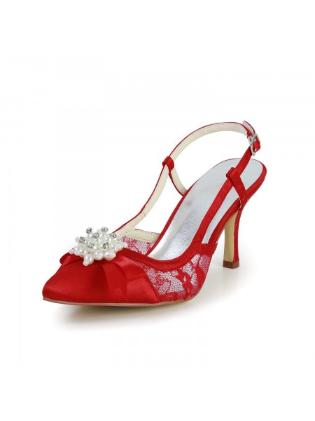Mulheres Pretty Cetim Stiletto Heel Sandálias Dedo do pé fechado com Pérola Vermelho Casamento Sapatos