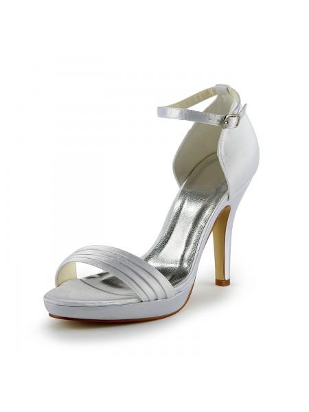 Mulheres Pretty Cetim Stiletto Heel Sandálias com Fivela Branco Casamento Sapatos