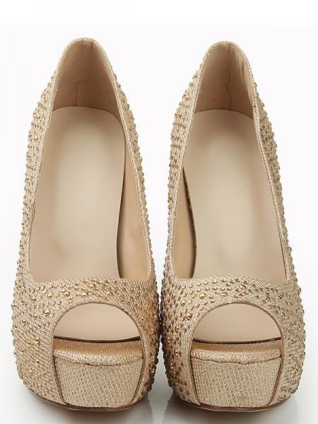 Mulheres Peep Toe Stiletto Heel Elastic Leather Plataforma com Fivela Plataforma Sapatos