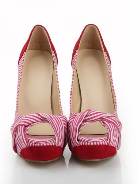 Mulheres Peep Toe Stiletto Heel Camurça Plataforma com Knot Plataforma Sapatos