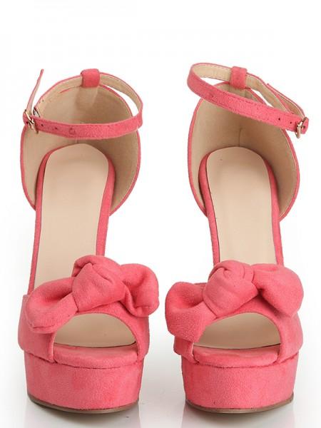 Mulheres Peep Toe Camurça Stiletto Heel Plataforma com Knot Plataforma Sapatos