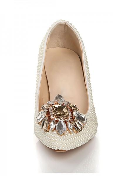 Couro Envernizado Pérola Imitação de Diamante Fivela Sapato de Bico FinoSalto alto