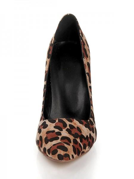 Flock Leopard Print Sapato de Bico FinoSalto alto
