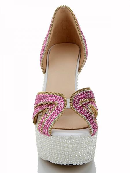 Couro Envernizado Pérola Diamond Sandálias Salto alto