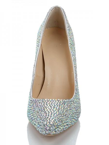 Sheepskin Diamond Sapato de Bico FinoSalto alto