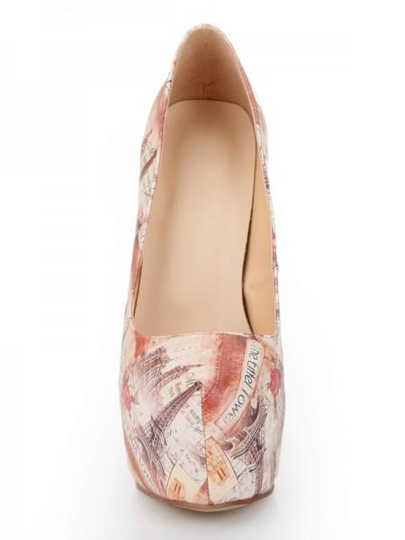 Mulheres Dedo do pé fechado Stiletto Heel Plataforma com Novospaper Patterns Plataforma Sapatos