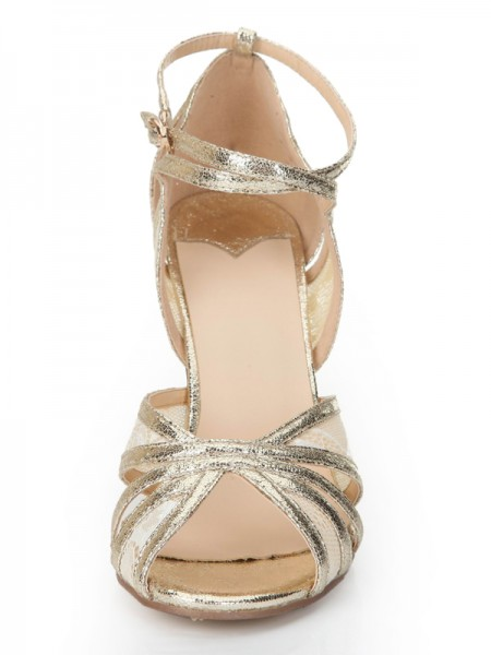 Mulheres Stiletto Heel Peep Toe Gold Sandálias Sapatos
