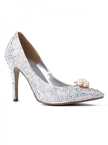 Mulheres Dedo do pé fechado Sparkling Glitter com Imitação de Diamantes Stiletto Heel Salto alto