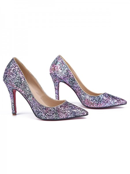 Mulheres Stiletto Heel Dedo do pé fechado Sparkling Glitter Salto alto