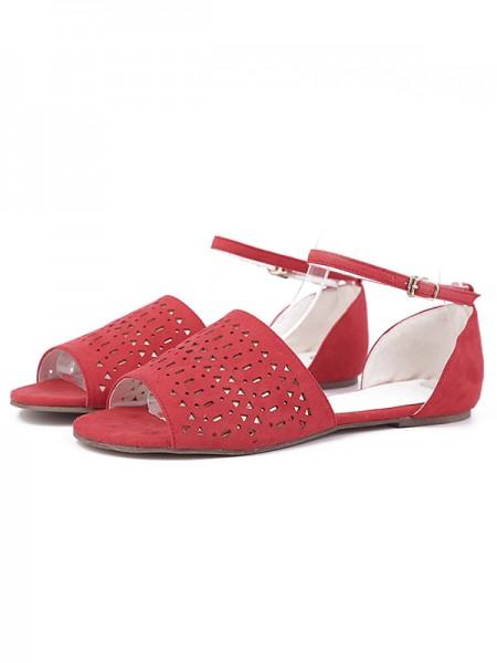 Mulheres Flock Heel Plana Peep Toe com Perfuração Vermelho Sandálias Sapatos