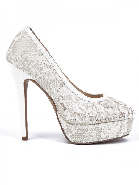 Mulheres Renda Stiletto Heel Dedo do pé fechado Plataforma Salto alto