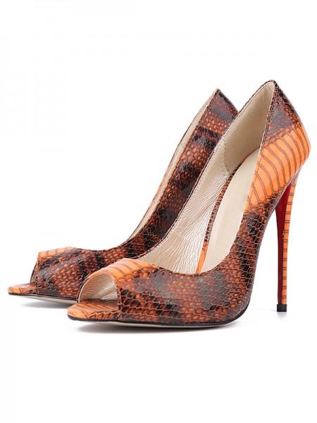 Mulheres Snake Print PU Peep Toe Stiletto Heel Salto alto