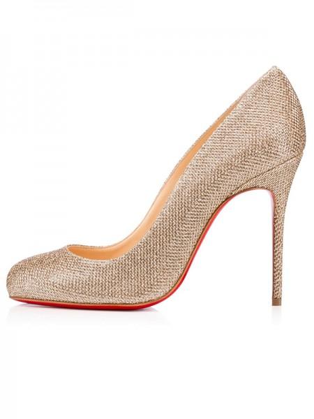 Mulheres Dedo do pé fechado Sparkling Glitter Stiletto Heel Salto alto
