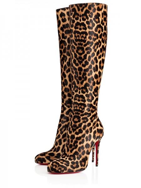 Mulheres Leopard Print Horsehair Stiletto Heel Knee Salto alto