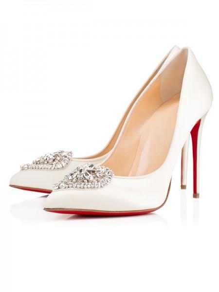 Mulheres Cetim Dedo do pé fechado Stiletto Heel com Fivela Salto alto