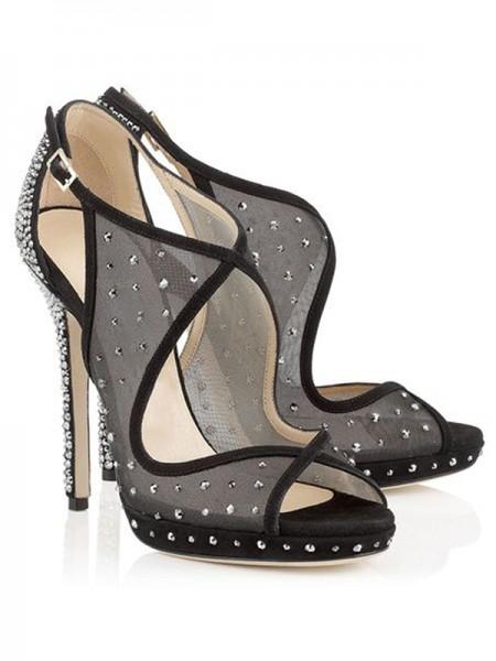 Mulheres Peep Toe Camurça com Perfuração Stiletto Heel Plataforma Branco Sandálias Sapatos