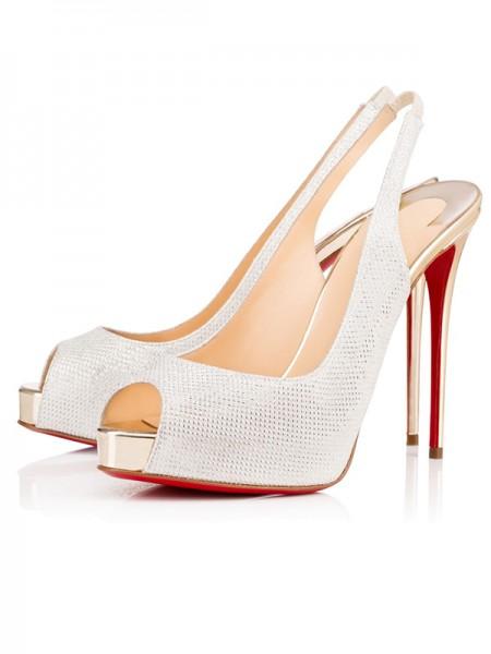 Mulheres Peep Toe Sparkling Glitter Stiletto Heel Plataforma Branco Sandálias Sapatos