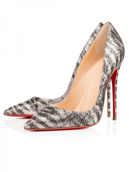 Mulheres Sparkling Glitter Dedo do pé fechado Stiletto Heel Salto alto