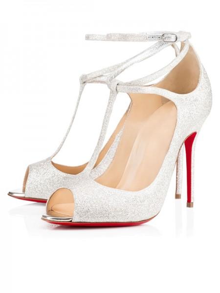 Mulheres Sparkling Glitter Peep Toe com Tornozelo Strap Stiletto Heel Salto alto