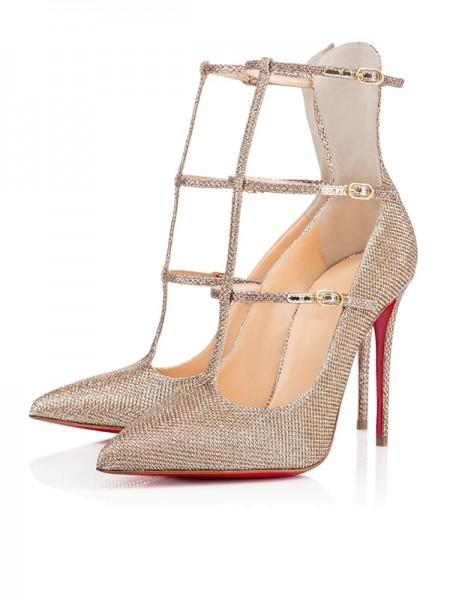 Mulheres Sparkling Glitter Dedo do pé fechado com Fivela Stiletto Heel Salto alto