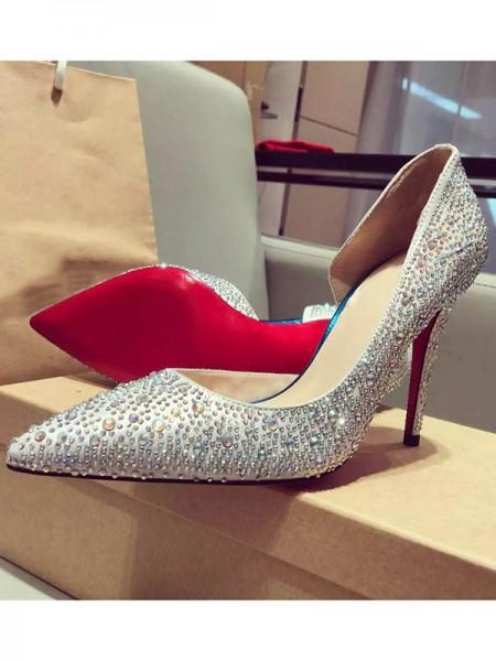 Mulheres Cetim Dedo do pé fechado Stiletto Heel com Imitação de Diamante Salto alto