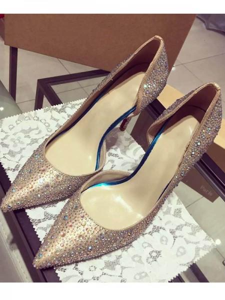Mulheres Cetim Dedo do pé fechado Cone Heel com Imitação de Diamante Salto alto