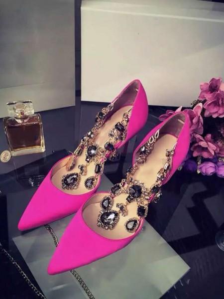 Mulheres Cetim Stiletto Heel Dedo do pé fechado com Imitação de Diamante Chain Salto alto