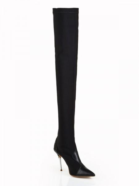 Mulheres Elastic Leather Stiletto Heel Dedo do pé fechado Over The Knee Preto Botas