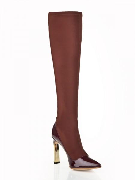 Mulheres Stiletto Heel Elastic Leather com Imitação de Diamante Joelho Chocolate Botas