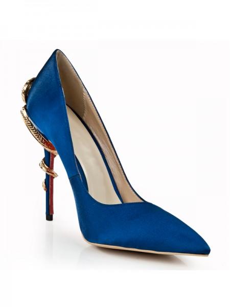 Mulheres Royal Blue Stiletto Heel Dedo do pé fechado com Imitação de Diamante Salto alto