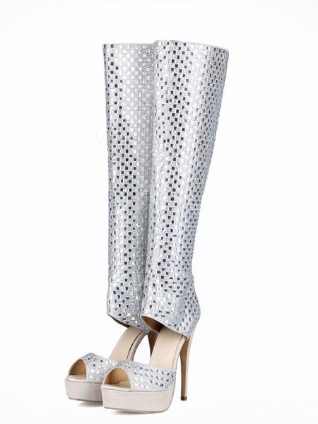 Mulheres Flock Peep Toe Stiletto Heel Imitação de Diamantes Botas