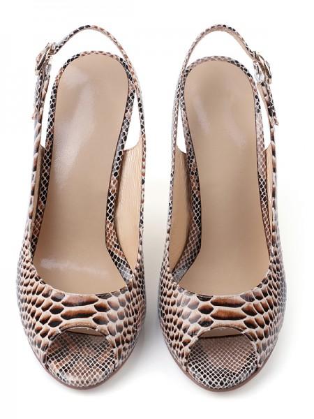 Mulheres PU Peep Toe com Fivela Stiletto Heel Sandálias Sapatos