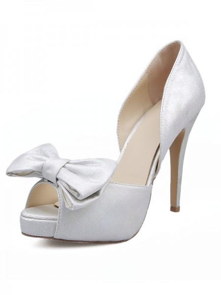 Mulheres Cetim Peep Toe com Laço Stiletto Heel Sandálias Sapatos