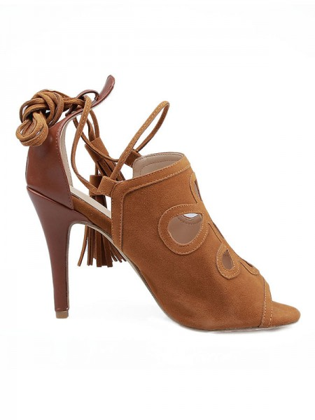Mulheres Camurça Stiletto Heel Peep Toe com Renda-up Sandálias Sapatos