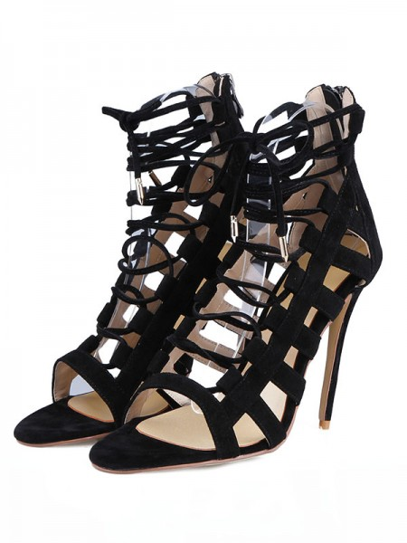 Mulheres Camurça Stiletto Heel Peep Toe com Fivela Sandálias Sapatos