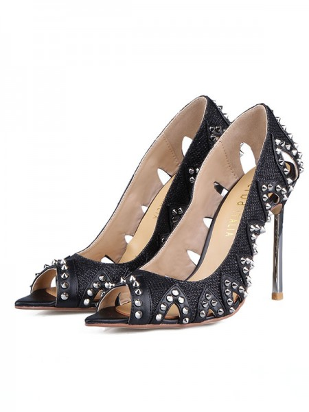 Mulheres Grete Stiletto Heel Peep Toe com Rebite Sandálias Sapatos