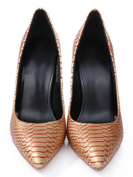 Mulheres PU Stiletto Heel Dedo do pé fechado com Snake Print Salto alto