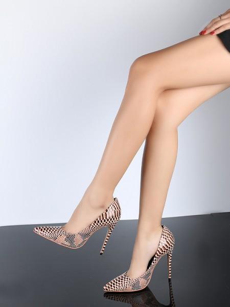 Mulheres Dedo do pé fechado PU Stiletto Heel com Snake Print Salto alto