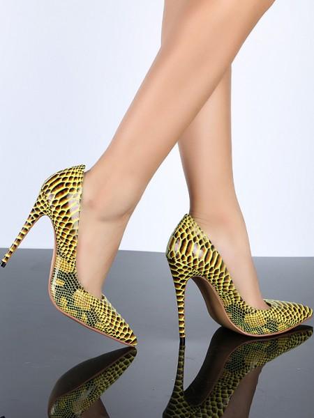 Mulheres Dedo do pé fechado Yellow PU Stiletto Heel com Snake Print Salto alto