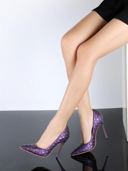 Mulheres PU Stiletto Heel Dedo do pé fechado com Ostrich Pattern Salto alto