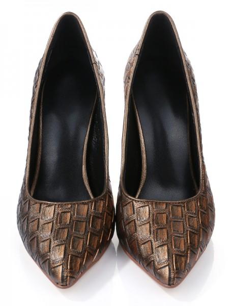Mulheres Stiletto Heel Dedo do pé fechado PU com Ostrich Pattern Salto alto
