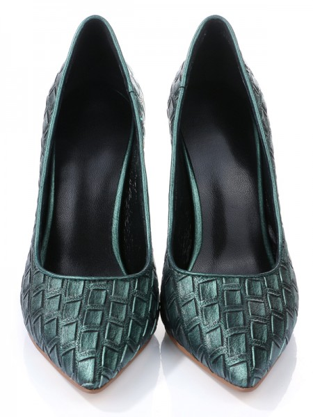 Mulheres Dedo do pé fechado PU com Ostrich Pattern Stiletto Heel Salto alto