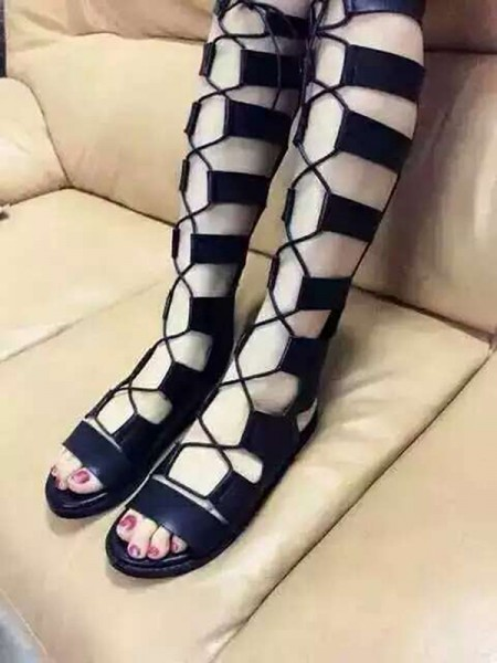 Mulheres Heel Plana Camurça Peep Toe com Renda-up Sandal Joelho Preto Botas
