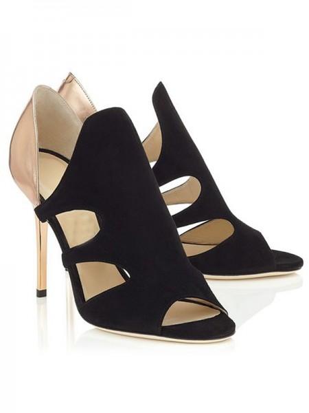 Mulheres Stiletto Heel Camurça Peep Toe Sandálias Sapatos