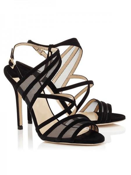 Mulheres Stiletto Heel Camurça Peep Toe com Fivela Sandálias Sapatos