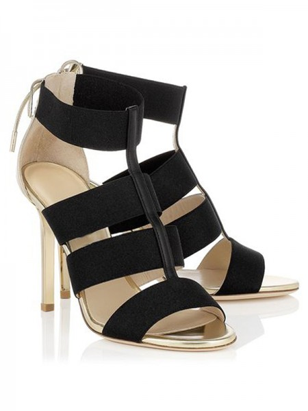 Mulheres Stiletto Heel Camurça Peep Toe com Renda-up Sandálias Sapatos