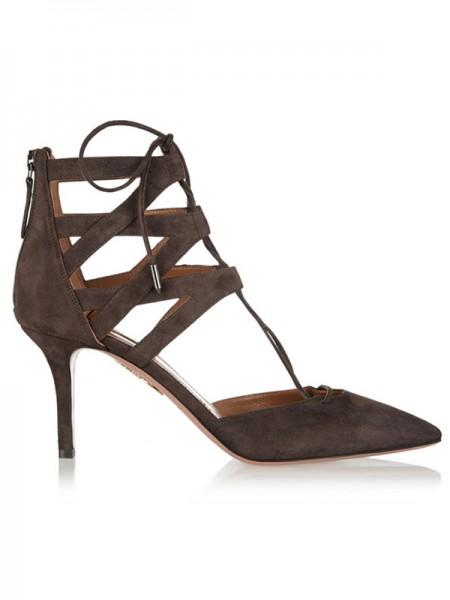 Mulheres Camurça Stiletto Heel Dedo do pé fechado com Renda-up Sandálias Sapatos