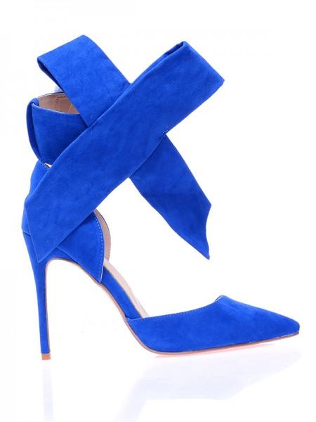 Mulheres Camurça Dedo do pé fechado Stiletto Heel com Knot Salto alto