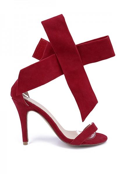 Mulheres Camurça Peep Toe Stiletto Heel com Laço Party Sandal Salto alto