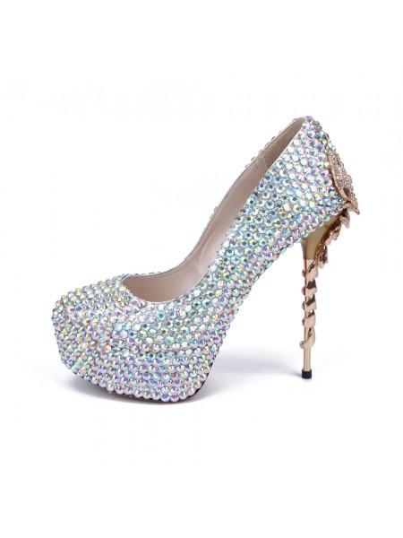 Mulheres Stiletto Heel Plataforma Dedo do pé fechado com Imitação de Diamante Plataforma Sapatos